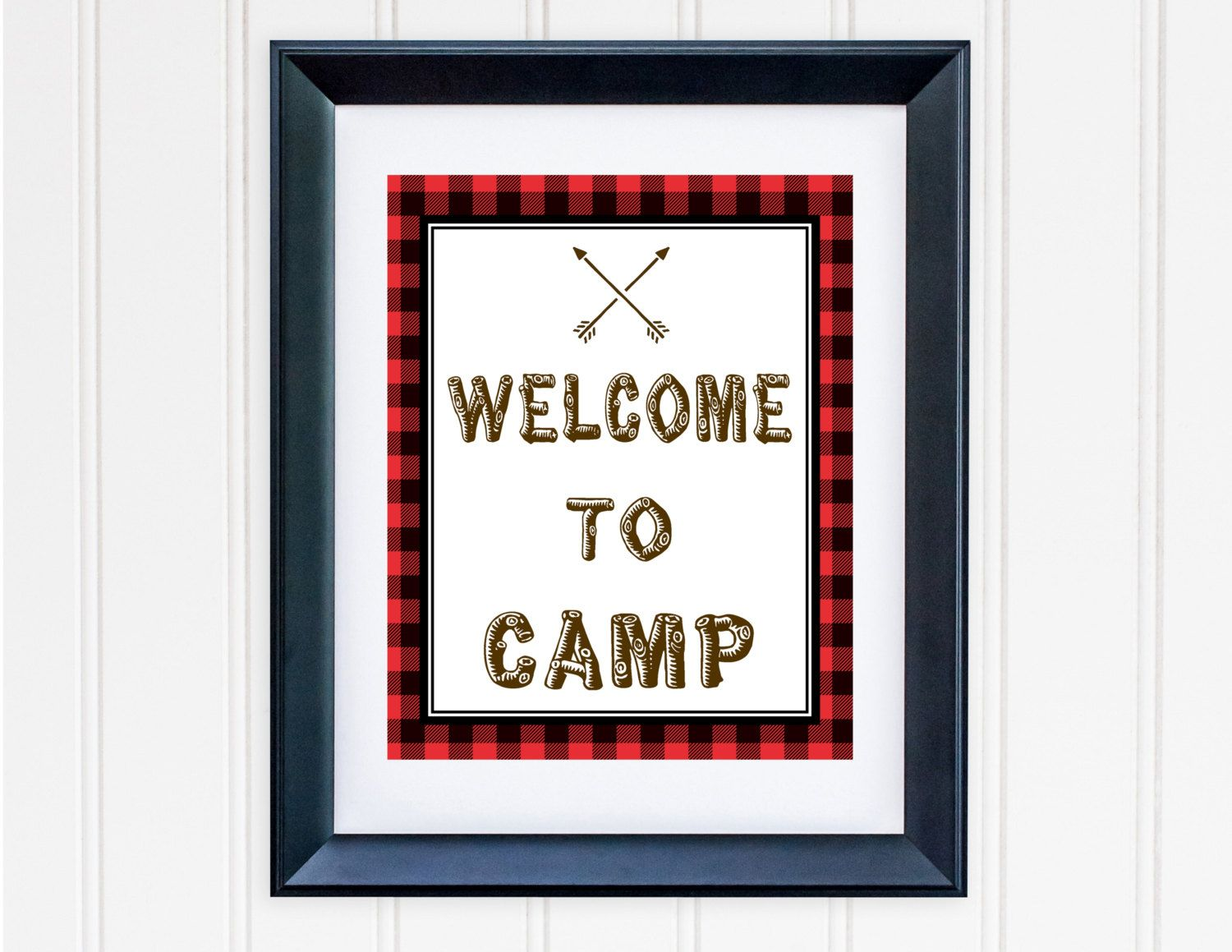 Wall Decor Signs Delectable Printable Camping Birthday Sign Printable Buffalo Plaid Camp Sign Inspiration