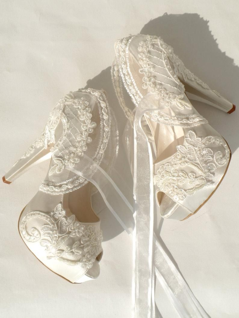 Ivory Lace Wedding Shoes With Pearls Lace Bridal Shoes Lace