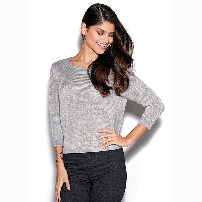 005f0735c67d8 Haut femme gris argenté tee shirt motif femme   Fallofmoney