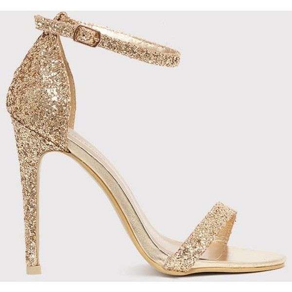 f9c7711708e865 Clover Gold Glitter Strap Heeled Sandals (77 RON) ❤ liked on Polyvore  featuring shoes