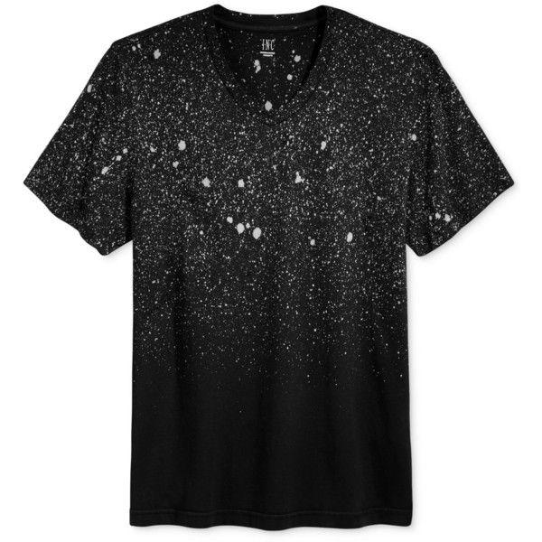 Inc International Concepts Men's Speckled T-Shirt, (4.255 HUF) via Polyvore featuring men's fashion, men's clothing, men's shirts, men's t-shirts, deep black, mens t shirts and inc international concepts mens shirts