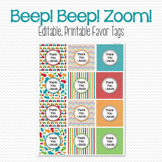 Boy Birthday Party Favor Tags Car Theme Bag Label Goodie Tag Baby Shower Edit