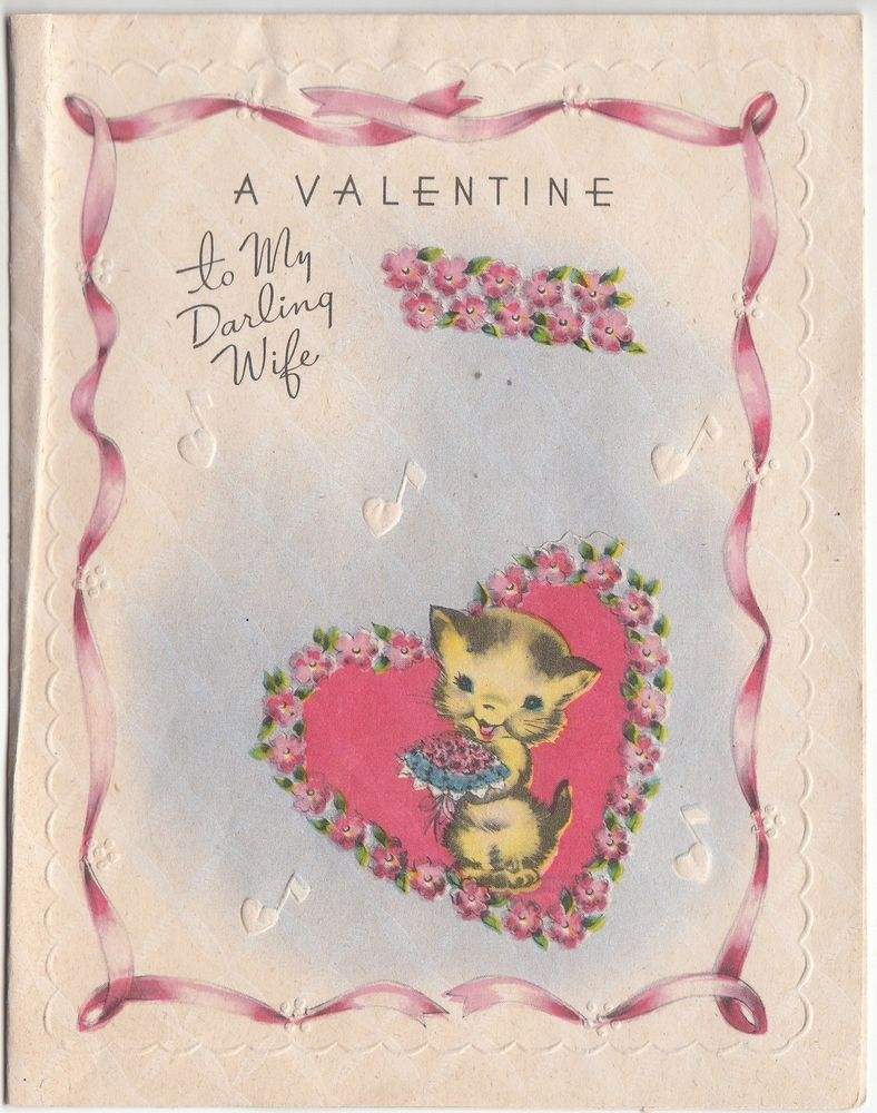 Vintage Unused Kitten with a Rose Valentine Greeting Card