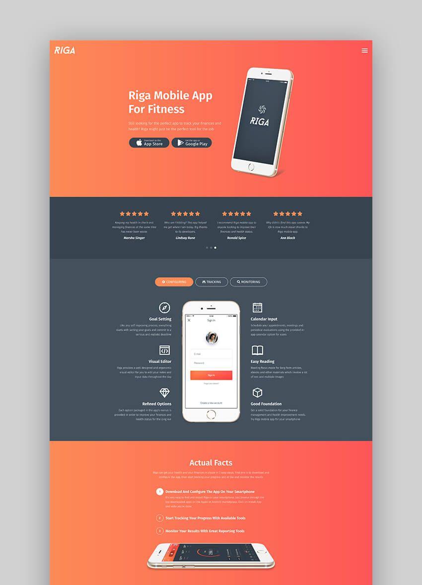 Riga Mobile App Landing Page Template App Landing Page Web Layout Design Web App Design