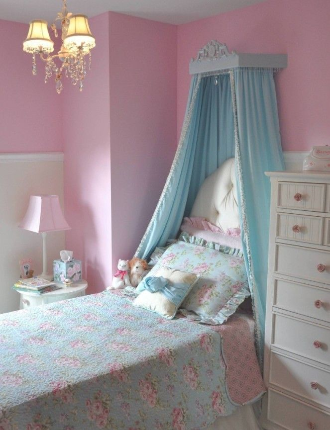 Toddler Bedroom With Turquoise Curtains And Pink Wall Paint Color