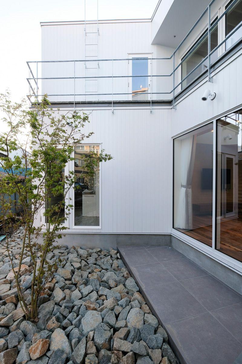 シンボルツリーを中心にメンテフリーの庭とした 集光の家 富谷洋介