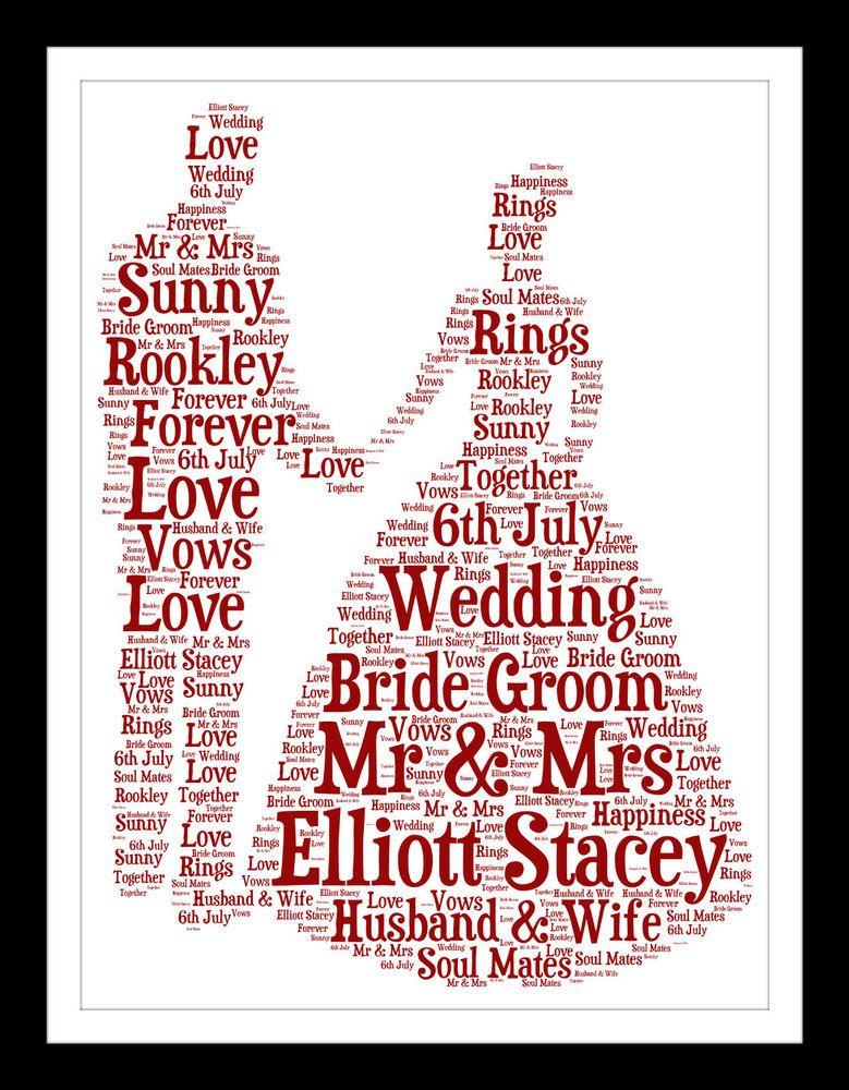 Wedding Gift Personalised Word Art Print Anniversary Bride Groom