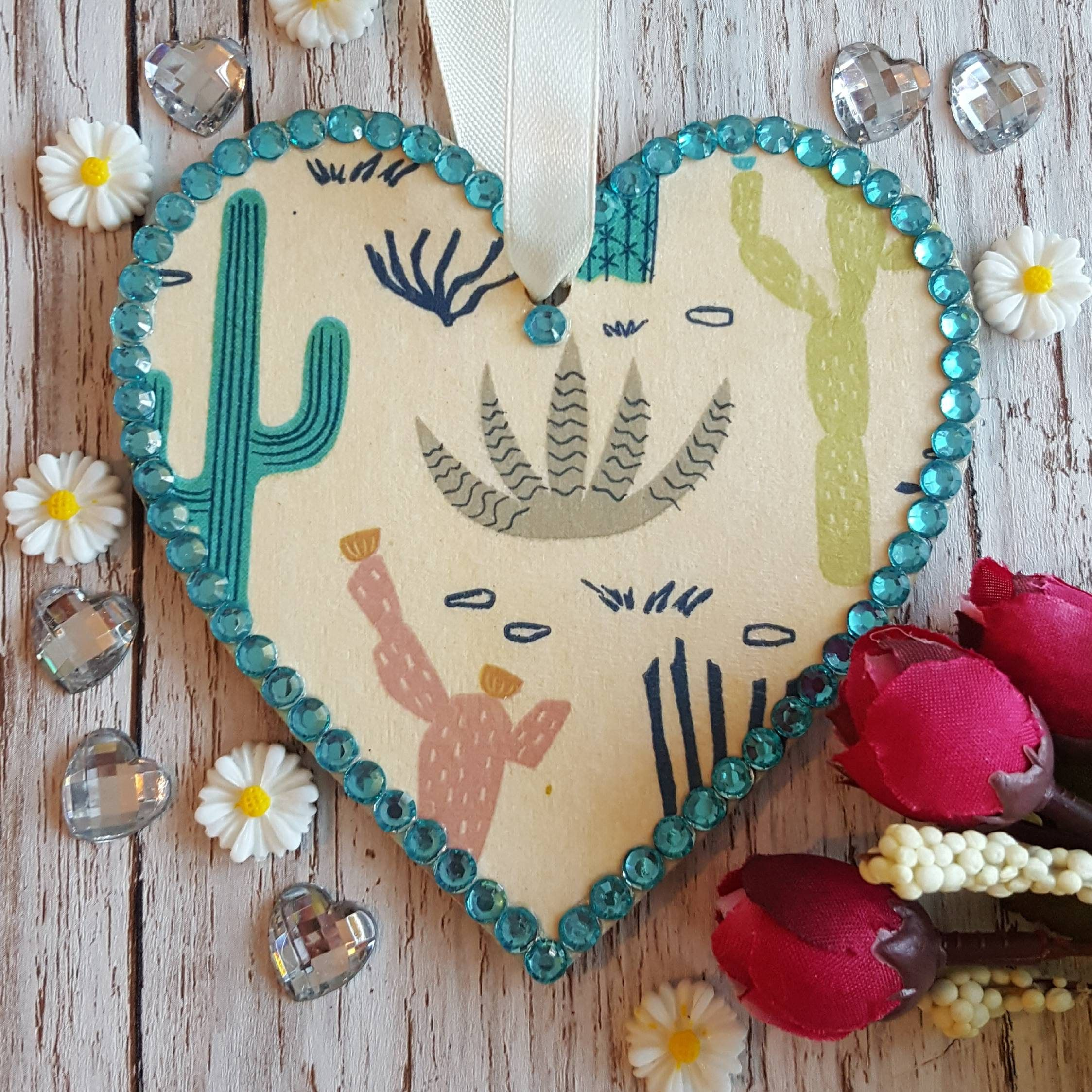 CACTUS Heart   cacti decoration   country cottage   cactus gift   boho decor   hanging Heart   succulent decor   country kitchen is part of Cactus decor Hanging - This listing is for 1 hand decorated hanging heart with cacti  The heart was decorated using decoupage, is edged with blue rhinestones  It measures approx 10x10xcm and is decorated on both sides  Other designs are available in my shop  Commissions welcome, please get in touch