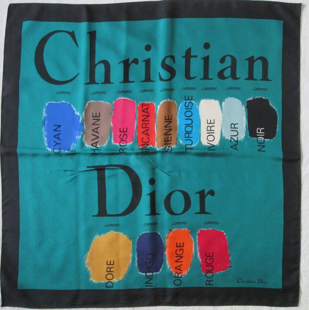 Superbe Foulard CHRISTIAN DIOR 100% soie TBEG vintage scarf 85 x 87 ... 4c3776ee6d6