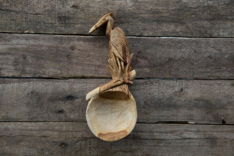 Hand Carved Oak Serving Spoon