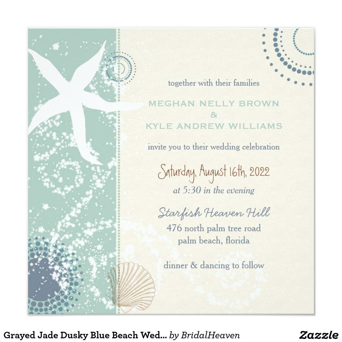 Grayed Jade Dusky Blue Beach Wedding Card | Beach themed weddings ...