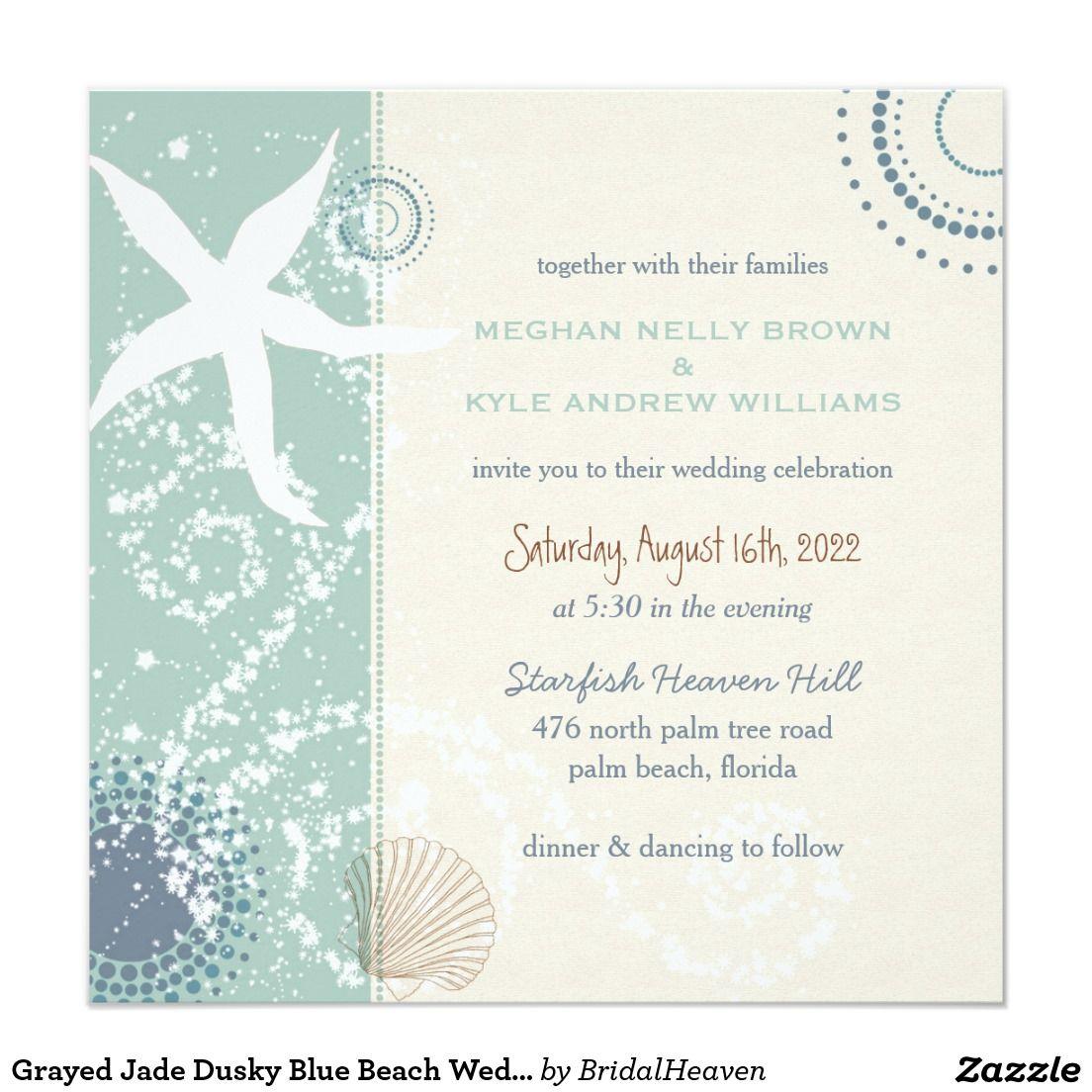 Casual Modern Beach Themed Wedding Invitation | Grayed Jade + Dusky ...