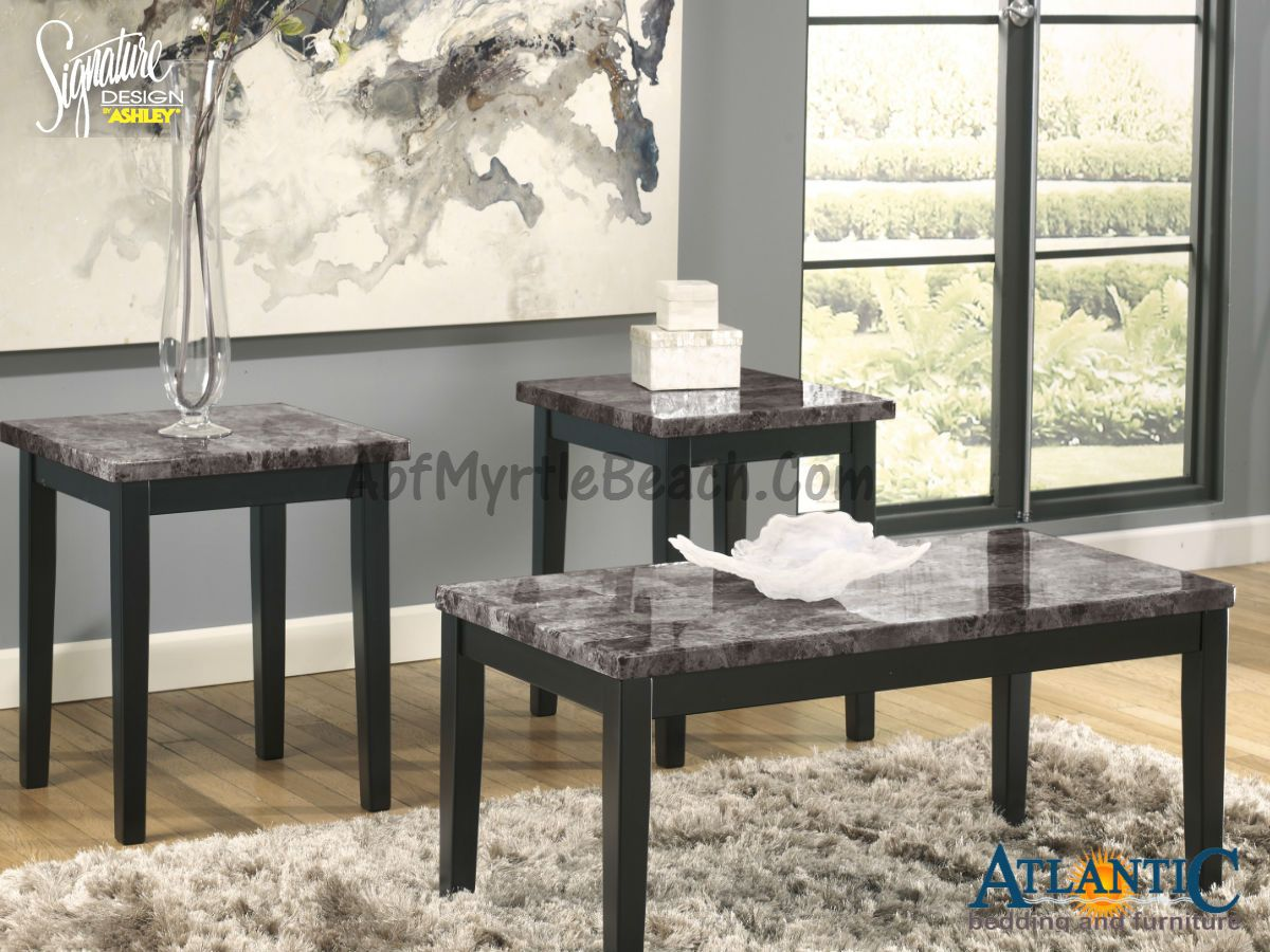 Ashley Furniture Signature Design Maysville Faux Marble Top Occasional Table Set Contains Tail 2