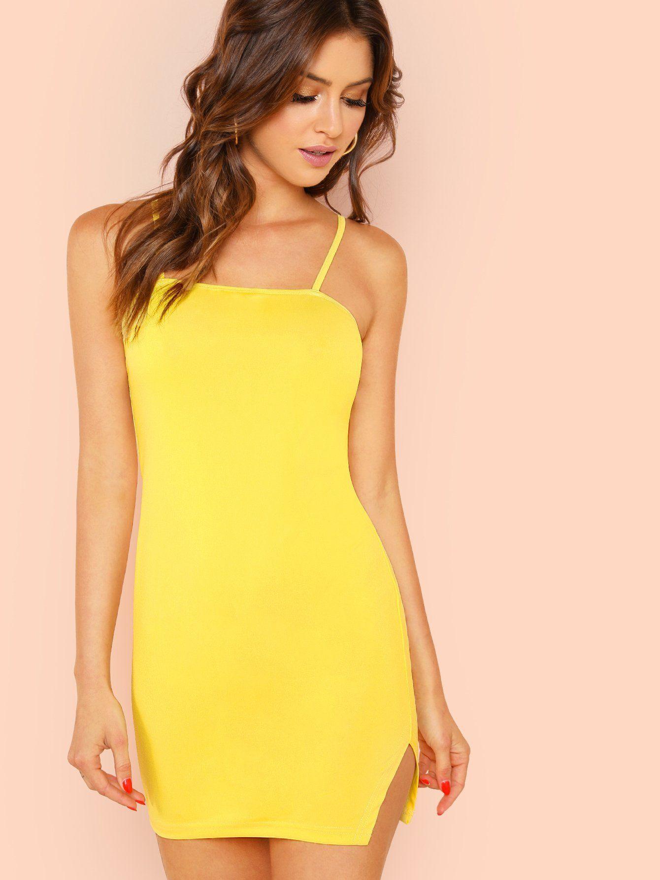 f8b9b1b052d7 Form Fitting Slit Hem Cami Dress | Products | Vestidos, Amarillo