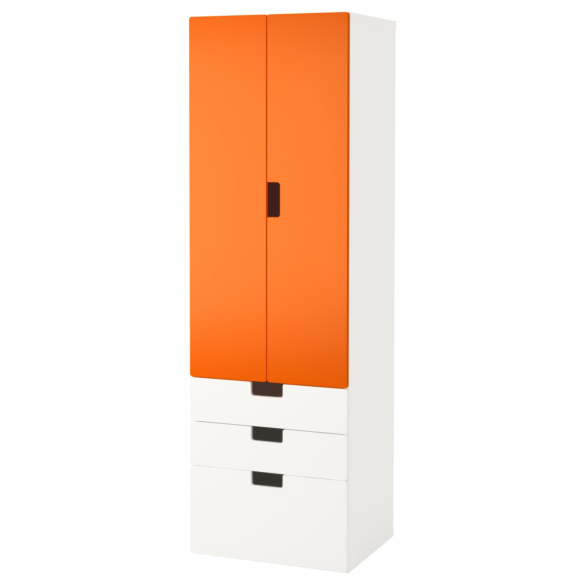 IKEA - STUVA, Storage combination w doors/drawers, white/orange, , You can keep both hanging and folded clothes in this wardrobe, since it has a clothes rail, shelf and drawers.Deep enough to hold standard-sized adult hangers.Doors with silent soft-closing damper.Stands evenly on an uneven floor; adjustable feet included.The doors and drawer fronts have rounded corners and cut-out handles with smooth edges.
