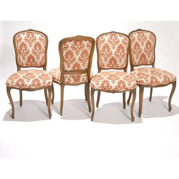 Four french country upholstered dining chairs - Four French Country Upholstered Dining Chairs Painted Furniture