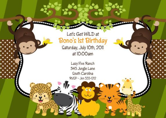 Boys Safari Jungle Birthday Party Invitation – Safari First Birthday Invitations