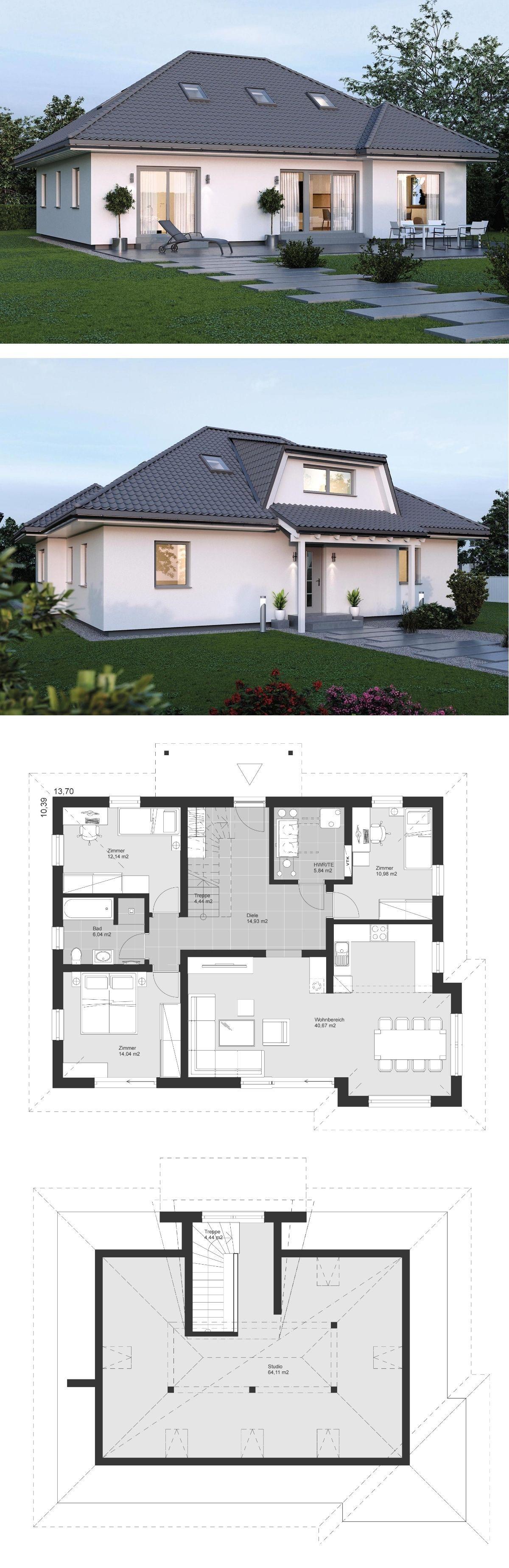 Bungalow Haus Grundriss 5 Zimmer Mit Walmdach Architektur
