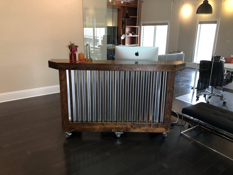 The Provincial Desk 6 Foot 2 Level Mobile Corrugated Etsy Custom Home Bars Corrugated Metal Metal Reception Desks