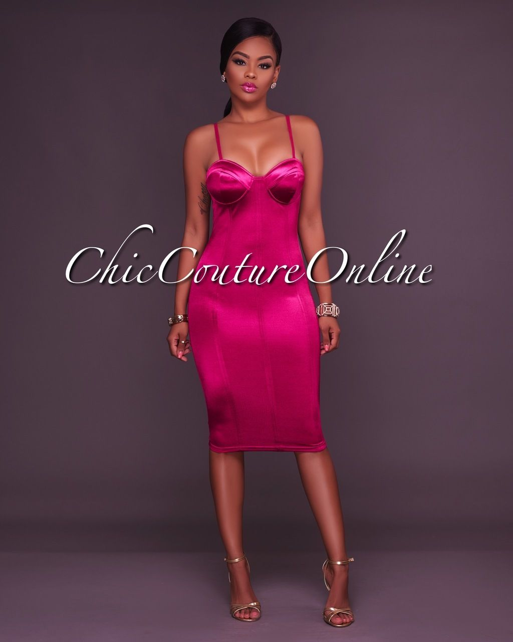 fdfc4b0390cf Chic Couture Online - Chantel Magenta Satin Bustier Padded Dress, (http://