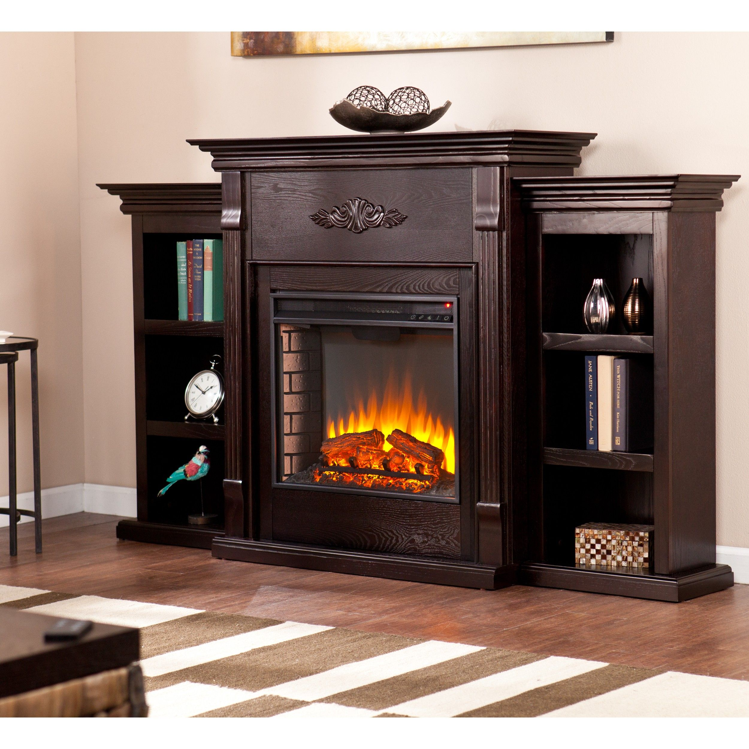 Southern Enterprises Tennyson Espresso Fireplace With Bookcases