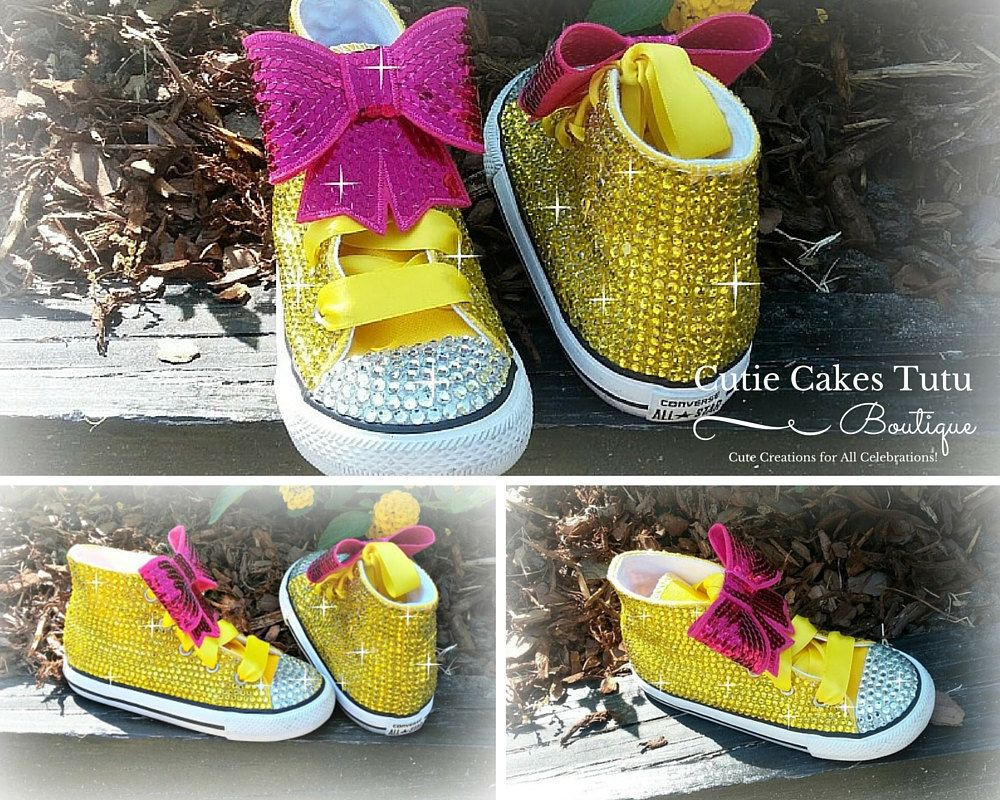 b1670dee1f37 Yellow and Pink Bling Converse Shoes