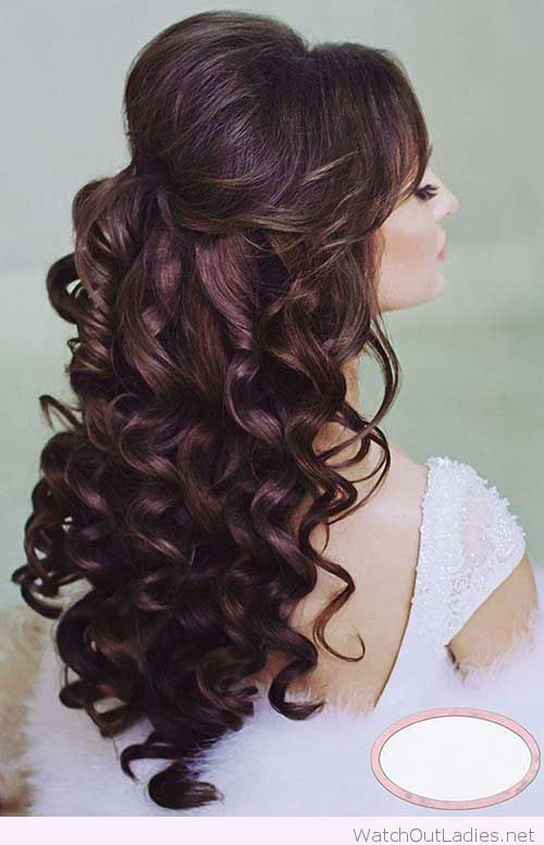 Half Up Half Down Hair With Curls Curly Wedding Hair