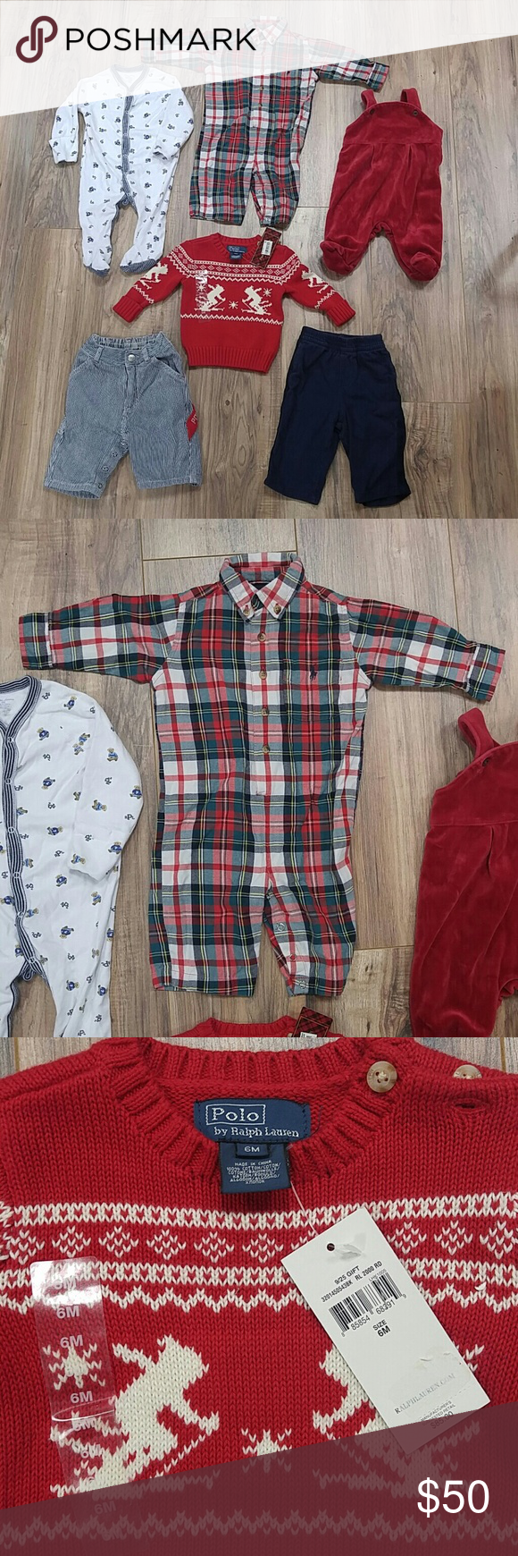 6pc boy 6M Ralph Lauren vintage & new clothing Size 6M infant boy winter clothing all from Ralph Lauren! The MSRP for red sweater (new with tags) was $85. Top left is footed sleeper with teddy bears, plaid 1pc outfit, velvet overalls with feet, striped carpenter jeans, and comfy navy blue pants. No flaws found. Ralph Lauren Matching Sets