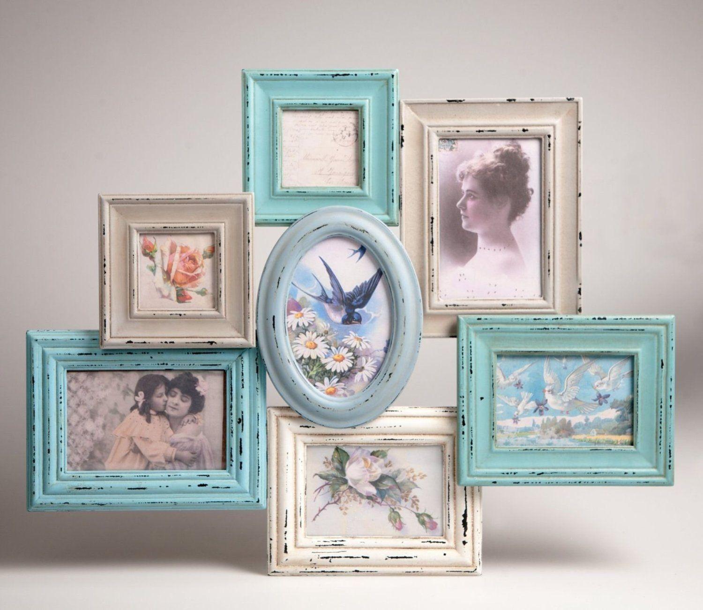 Marco para fotografas de estilo collage de marcos color azul delilah collage photo frame hanging shabby chic 7 photos new vintage multi gift jeuxipadfo Images