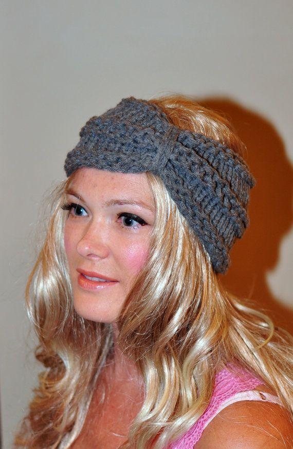 Turban Headband Crochet Head wrap ear warmer Warm Gray by lucymir ...