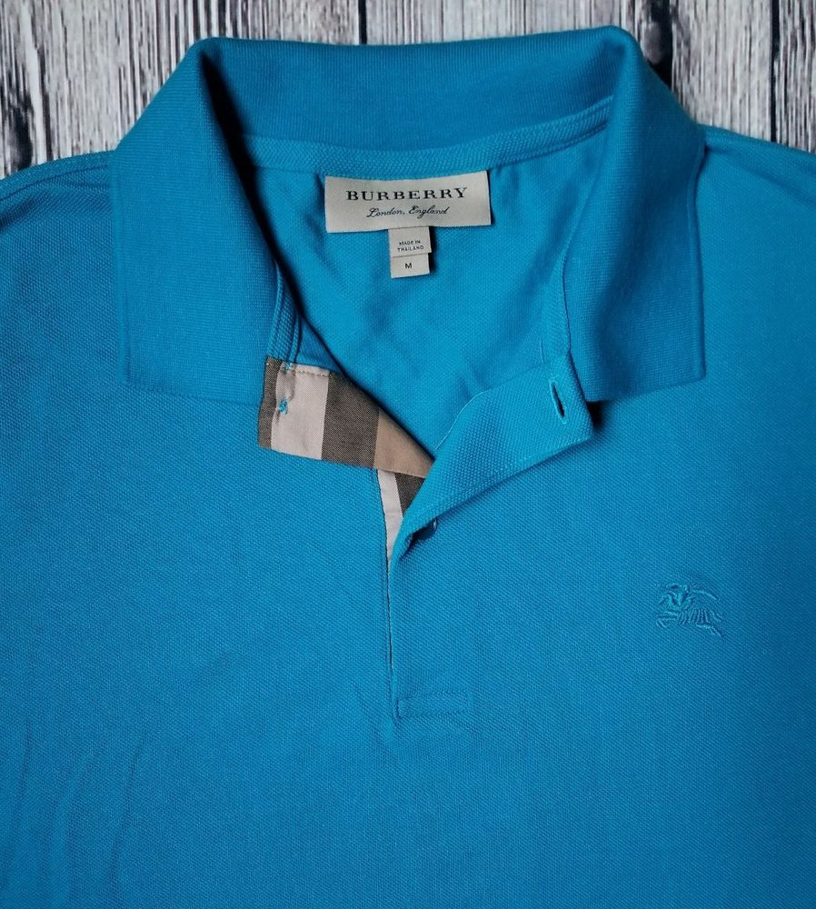 Burberry London Polo Shirt Mens Size M Blue Burberrylondon
