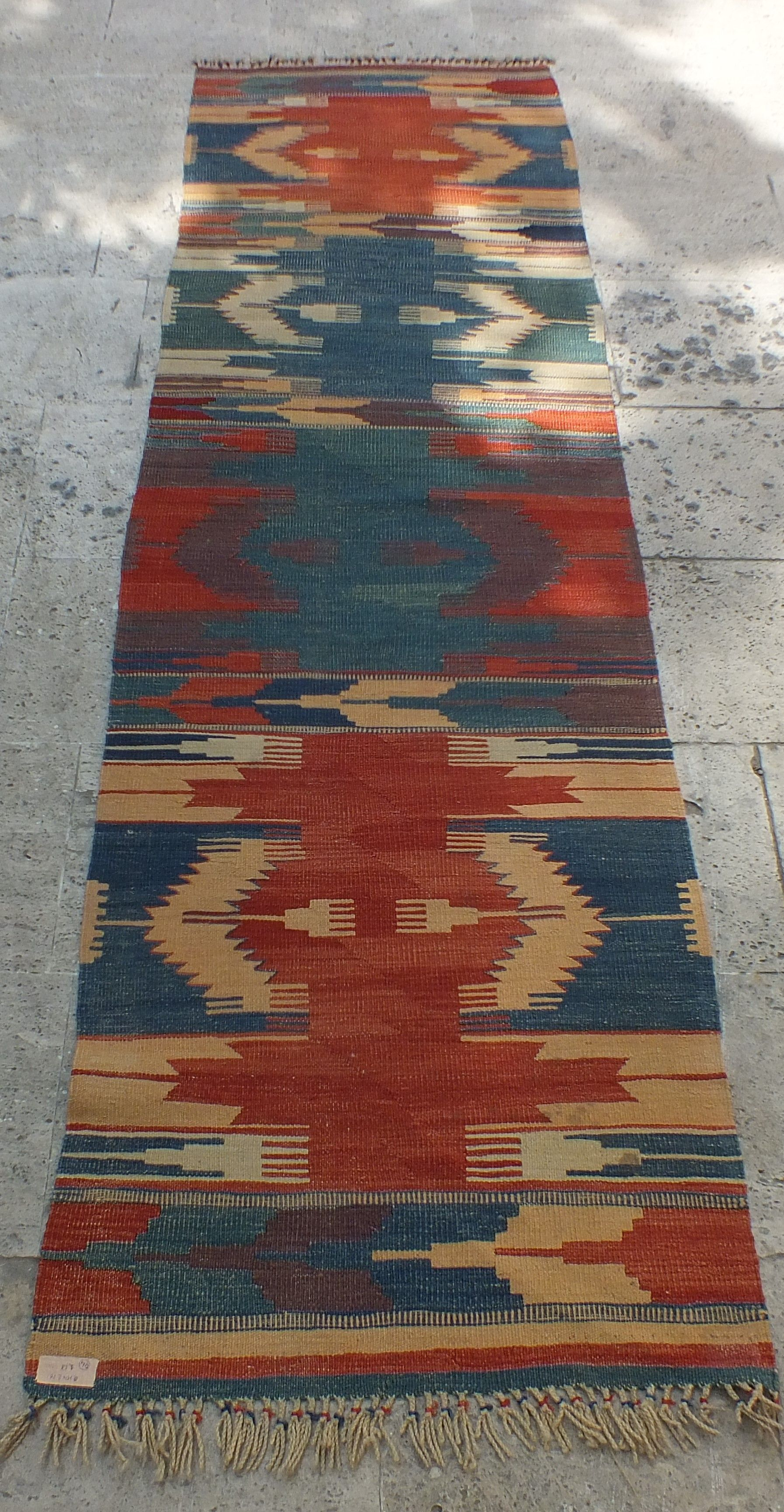 Kilim Rug Runner Vintage 2 3 6 X7 5 Turkish Kitchen Red Blue Art Beauty