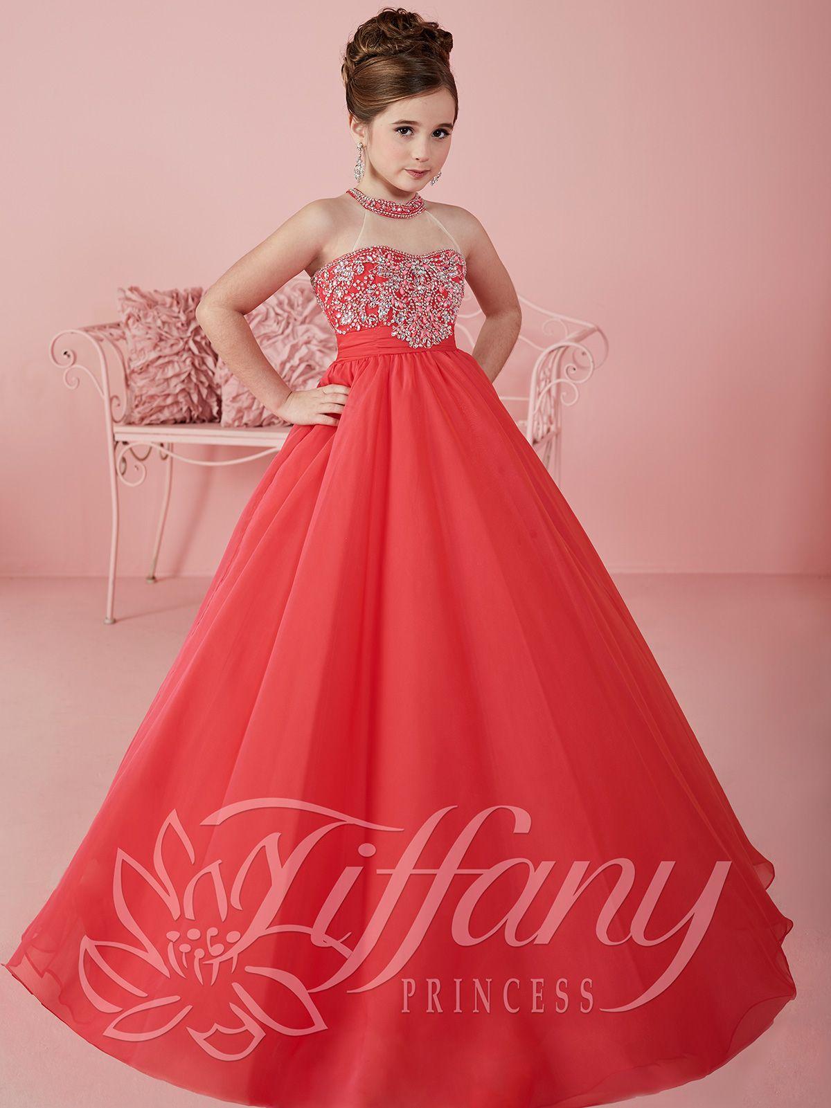 Tiffany princesa 13475 Halter una línea de gasa vestido del desfile ...