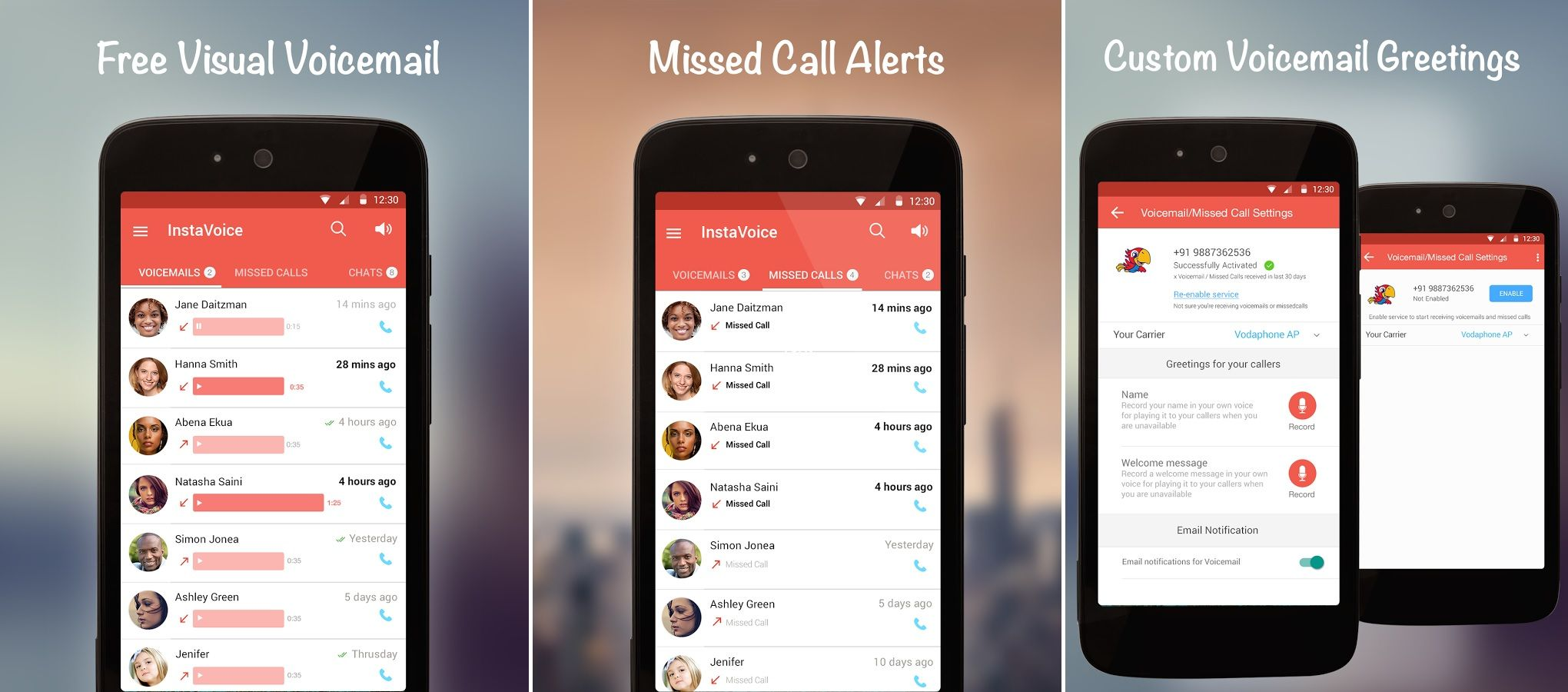 Get free missed call alerts with the InstaVoice app for