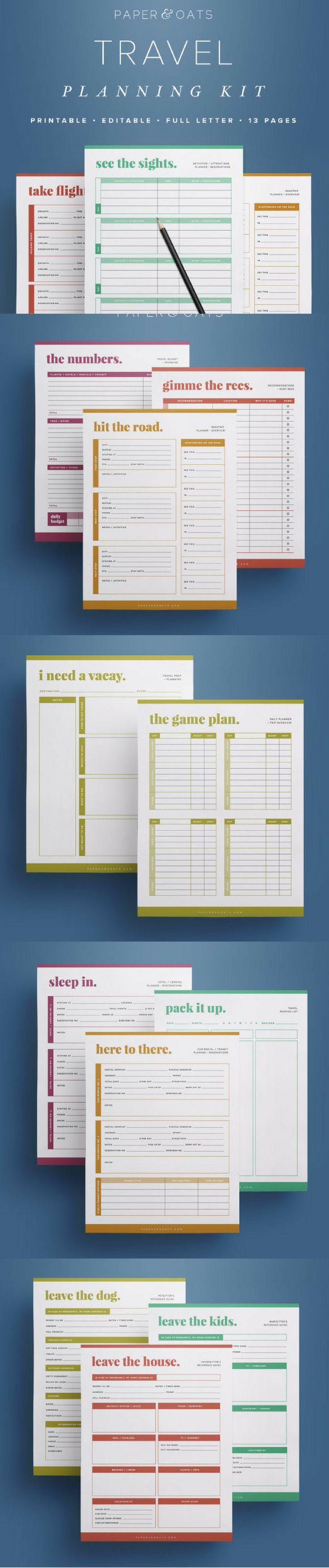 Travel Planner  Travel Planning Kit  Printable travel