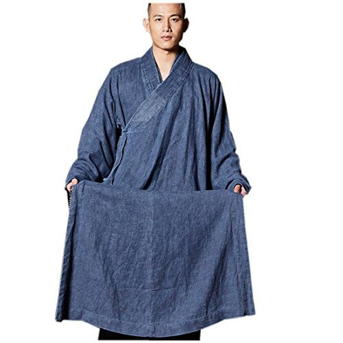 e07147fc8a4 ZanYing Mens Long Gown Meditation Monk Outfit Buddhist Robe Linen Flax M  Blue --    AMAZON BEST BUY