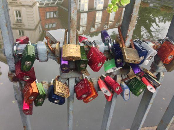 love locks in Lueneburg, Germany - love the reflection