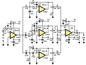 The electronic schematic of the Stereo Tone Control in