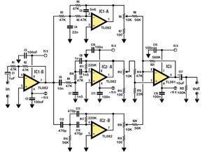 Электронная схема управления стереофоническим тоном