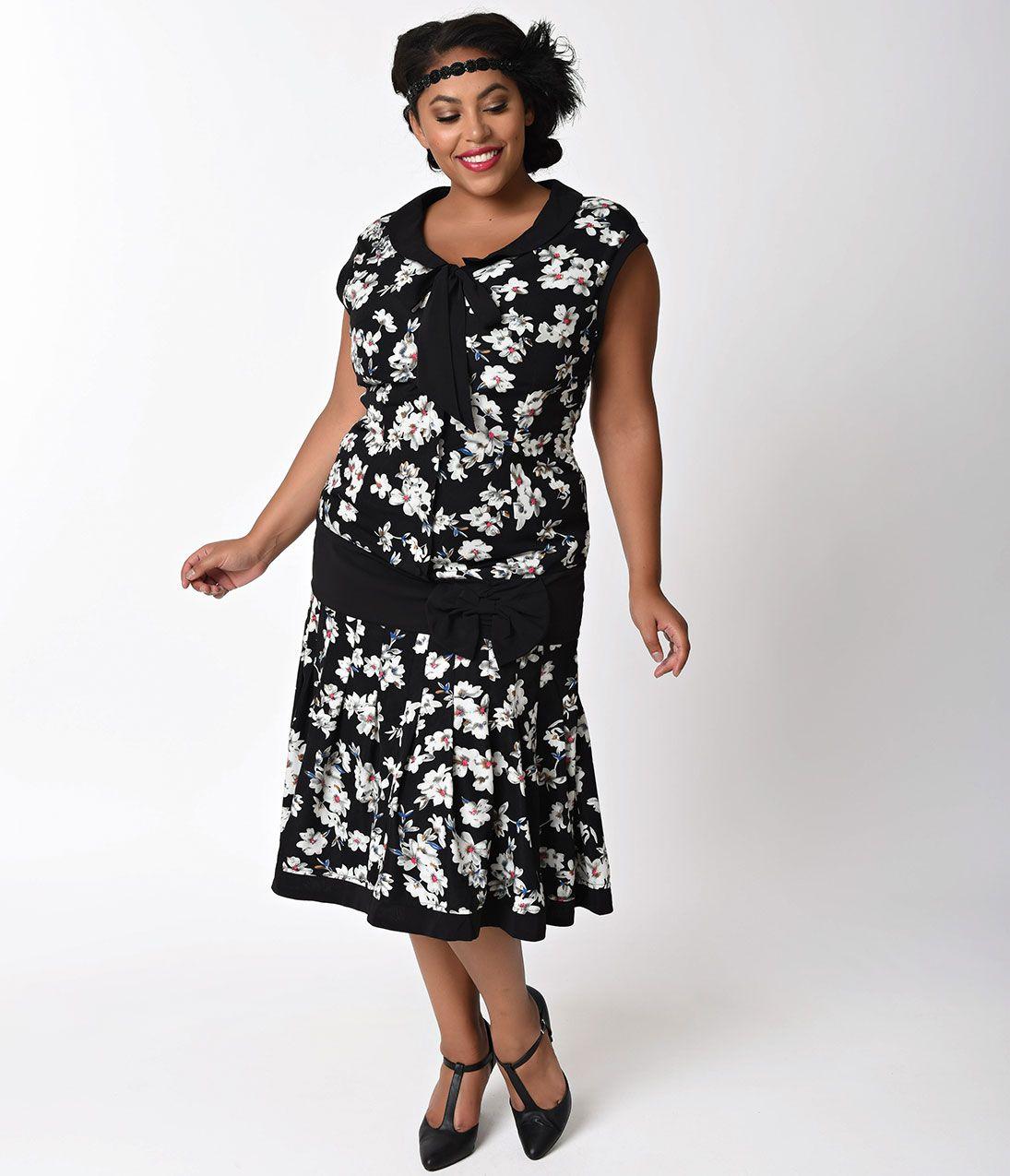26263927ed5 Plus Size 1920s 1930s Black Ivory Flapper Day Fashion Dress  110.00 AT  vintagedancer.com