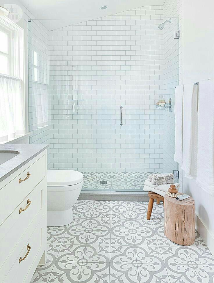 A Not So Plain White Bathroom With Great Walk In Shower Gray And Patterned Encaustic Tile Floors Via Sarahsarna