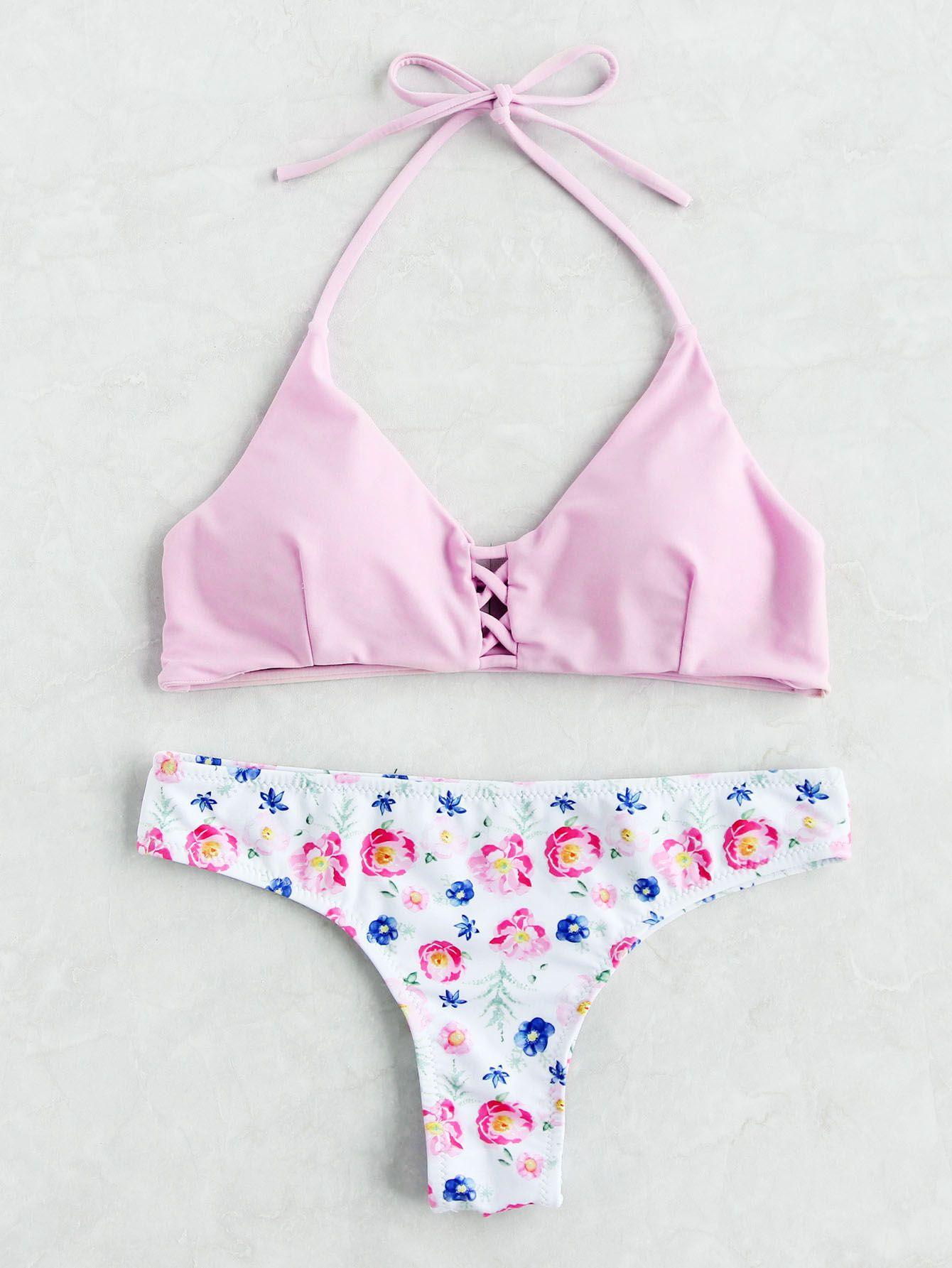 8808020b67 Shop Calico Print Criss Cross Bikini Set online. SheIn offers Calico Print  Criss Cross Bikini Set & more to fit your fashionable needs.