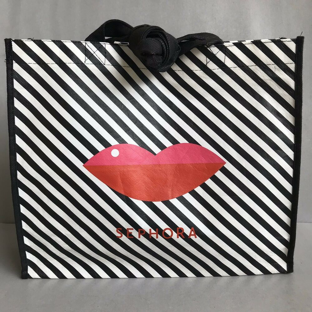 SEPHORA Collection Stripped Tote Bag Black White VIB Lips Reusable Collectible