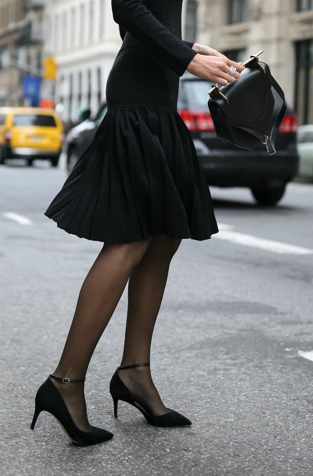 30 Dresses In 30 Days Engagement Party Black Off The Shoulder Pleated Knit Sparkle Dress Black Suede Ankle Strap Fashion Black Tights Best Party Dresses [ 1520 x 1000 Pixel ]