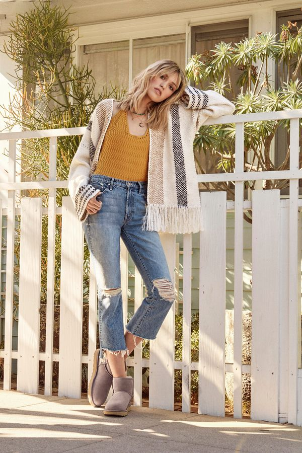 a6d0dc6fa35 Show some ankle with this season s ever-popular cropped denim and the  Classic II Mini Boots. A fringed blanket sweater and layered necklaces add  a ...