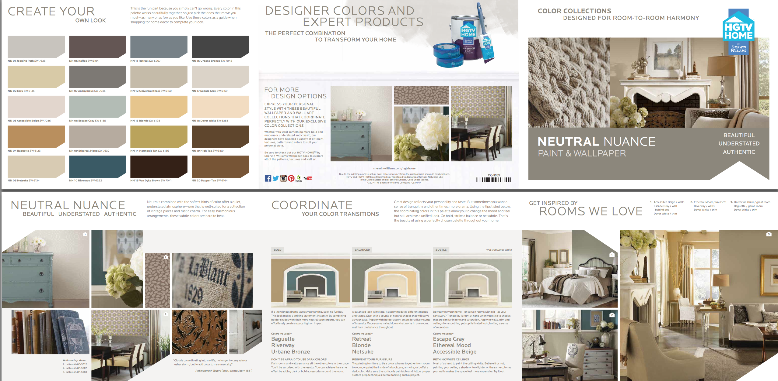Sherwin Williams/HGTV Home Neutral Nuance Color Palette Style Guide ...