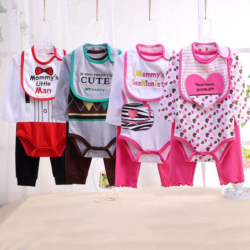 Conjuntos de Niña Ropa Para Bebe Recien Nacido Vestidos Trajes Niñas Monos 4Pc
