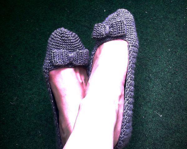 Háčkované papuče - balerínky