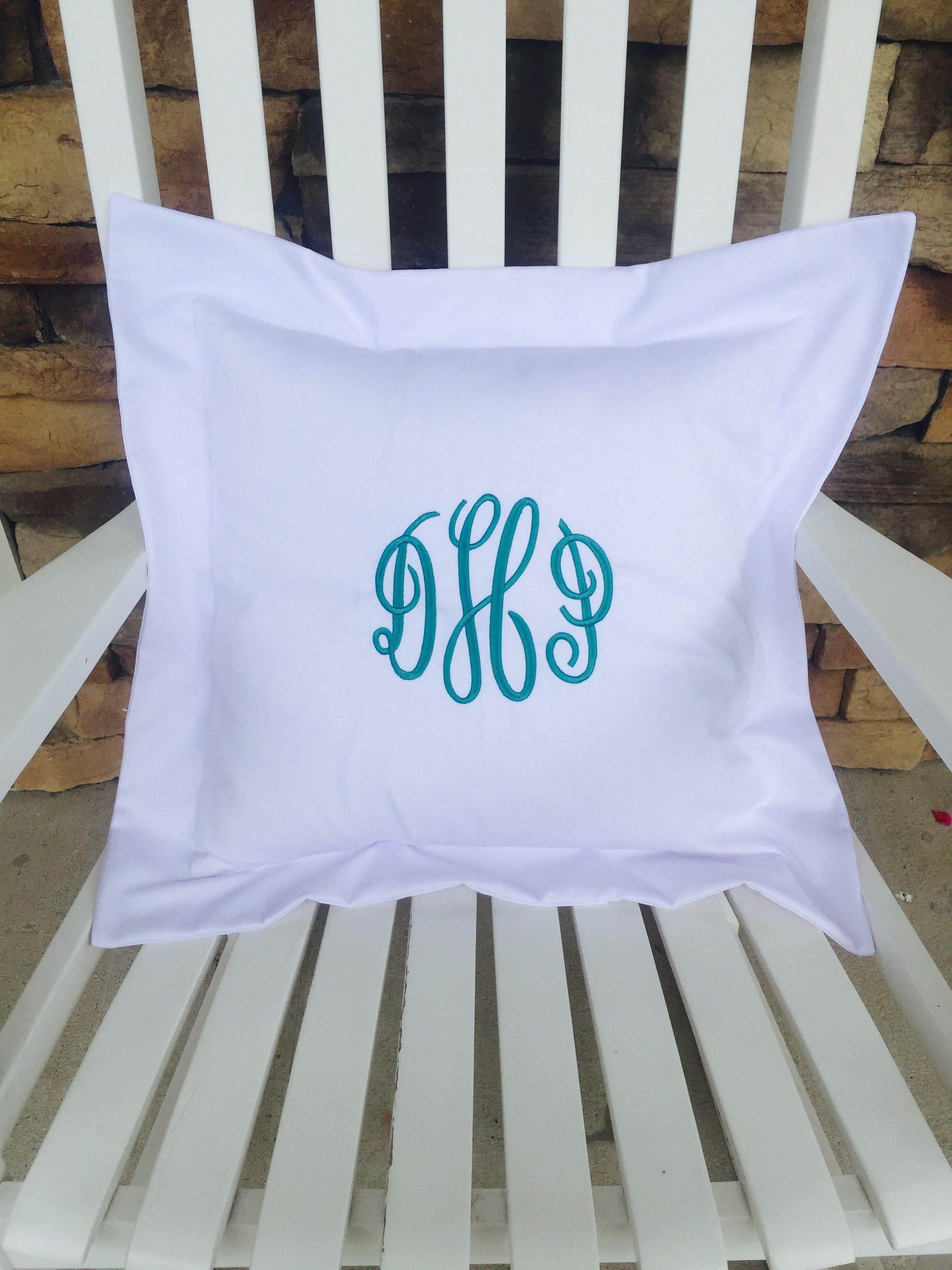 White Monogrammed Pillow Cover With Flange