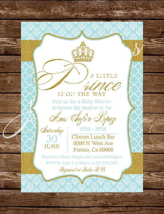 blue mint gold prince on the way printable baby shower